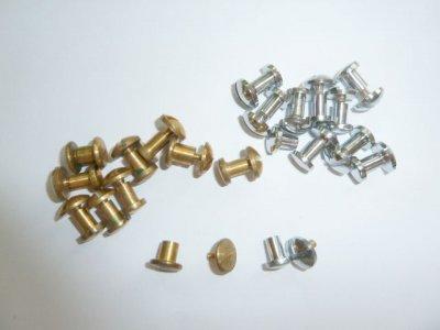 Chigago - Buchschrauben gold - silber,   10 Stück