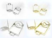 Portugiesisch barocke Steigbügel Eckig Silber oder Goldfarben - 1 Paar